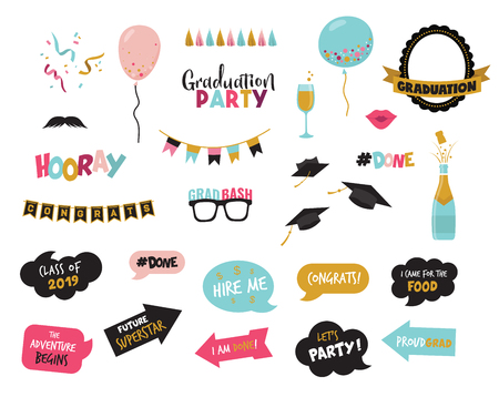 graduation photo booth elemnts and party props-vector Vector Illustration