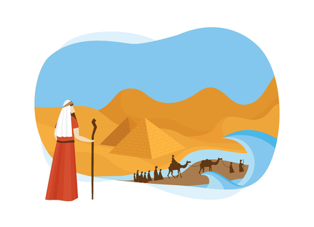 Passover card with Moses Looking at Egypt- Vector Illustration