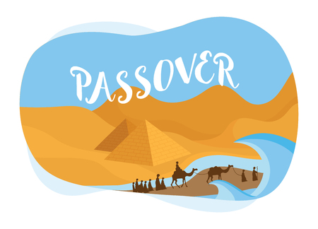 Passover card- The people of Israel getting out of Egypt-Vector