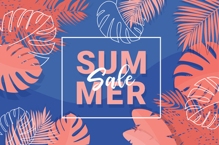 Summer Tropical Sale Banner with coral colors -Vector illustration