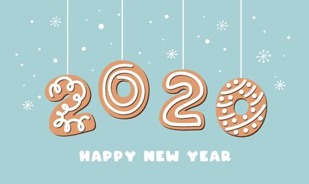 Cartoon gingerbread New Year banner greeting card with number 2020 made of cookies. Vector illustration. Ilustração