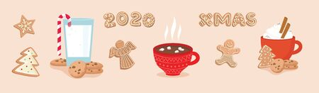 set of winter drinks, phrases and gingerbread cookies. Winter set for Christmas or New Year designs. Stock Illustratie