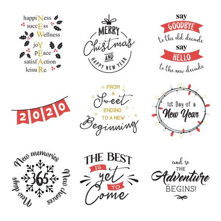 new year insparation greeting phrases. Calligraphy postcard or poster graphic design element lettering set. Illustration