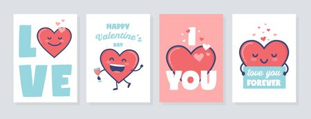 Valentines Day Vector Gift tag or Card set with cute hearts characters Stock Vector - 137475935