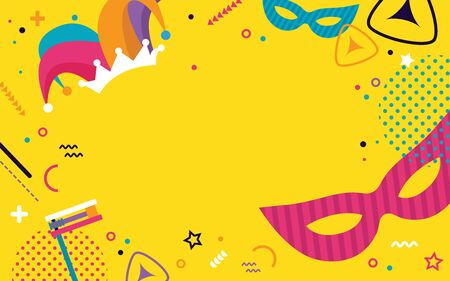 Happy Purim. jewish holiday background and Carnival funfair banner with Carnival masks and traditional Jewish items. Vector Illustration