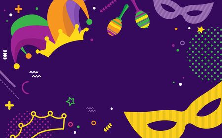 Mardi Gras party greeting or invitation card. Carnival background for traditional holiday or festival. Ilustracja