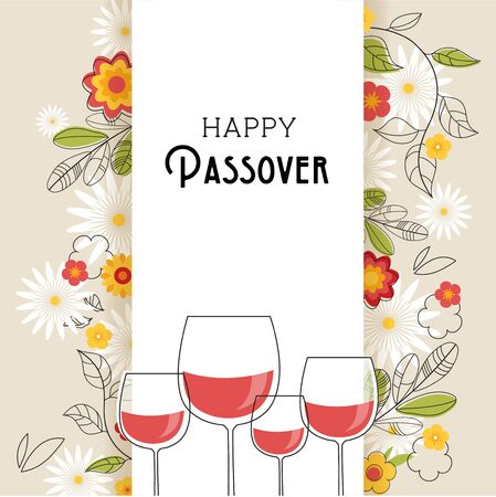 Pesah celebration concept , jewish Passover holiday. Greeting card with four wine glasses and spring flowers 向量圖像