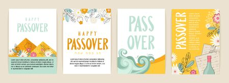 Passover greeting car set. seder pesach initation, greeting card template or holiday flyer. happy passover in English and Hebrew