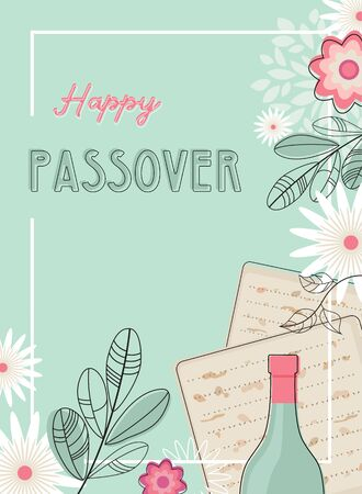 happy passover greeting card or seder invitation with spring flowers. Jewish holiday. 向量圖像