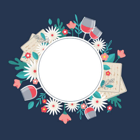 Pesah celebration concept , jewish Passover holiday. Greeting cards with traditional four wine glasses, Matza and spring flowers.