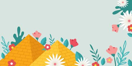 Jewish Passover holiday,Pesah celebration concept. Jewish banner with Egypt pyramids as a sign for Jew exodus from Egypt and spring flowers. vector illustration