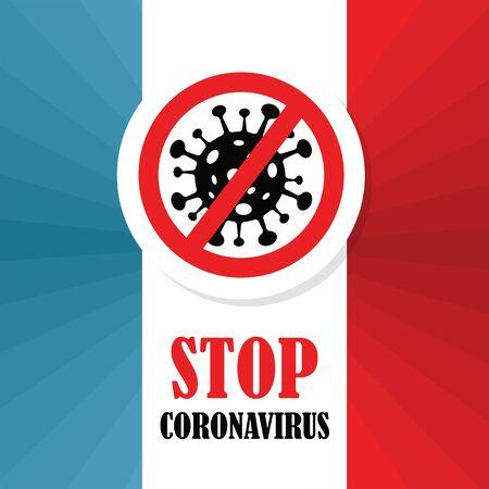 Corona Virus in France. 2019-nCoV. CoronaVirus Global Spread and Concept of Icon of Stopping Corona Virus. Flu and lung disease spreading of world. Dangerous ncov corona virus, risk alert. vector illu  イラスト・ベクター素材