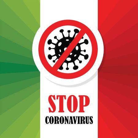 Corona Virus in Italy. 2019-nCoV. CoronaVirus Global Spread and Concept of Icon of Stopping Corona Virus. Flu and lung disease spreading of world. Dangerous ncov corona virus, risk alert.