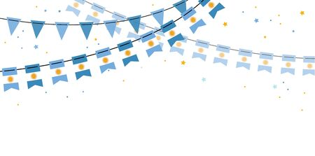 Argentina flags bunting on white backgrounds. banner for independence or revolution day