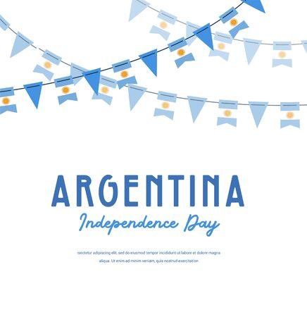 Argentina independence day. Vector banner background with bunting with flags of Argentina Background for greeting Card, Poster, Web Banner Design. Illusztráció