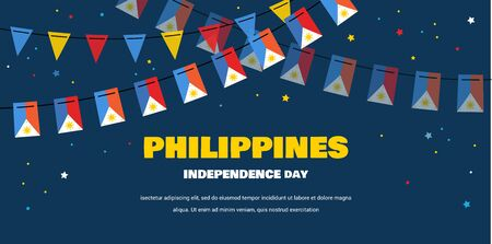 flags bunting of Philippines on night background. banner for independence day. Background for greeting Card, Poster, Web Banner Design.