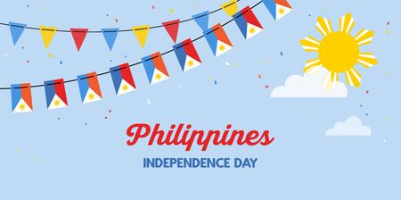Philippines flags bunting waving on the blue sky background. banner for independence day. Background for greeting Card, Poster, Web Banner Design.