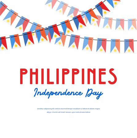 philippines independence day. Vector banner background with bunting with flags of philippines. Background for greeting Card, Poster, Web Banner Design.