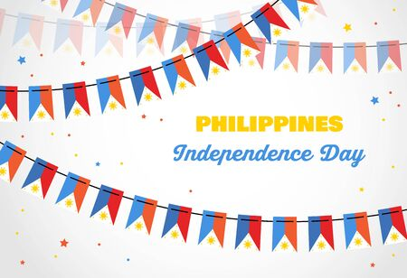 philippines independence day. Vector banner background with bunting with flags of philippines. Background for greeting Card, Poster, Web Banner Design. vector illustration