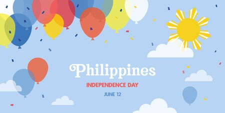 Celebrate banner of the independence day of Philippines, june 12. Happy independence day banner. Celebration banner with flying balloons in Philippino flag colors. vector ilustration