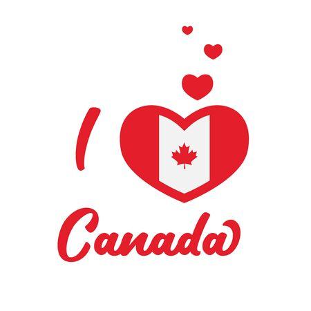 i love canada. Canada Vector Flag Inside Heart. Shape Graphic Element Illustration Template Design.