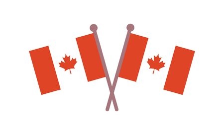 Canadian flags. Official Canada Flag With Original Color. Happy Canada Day poster. Vector illustration