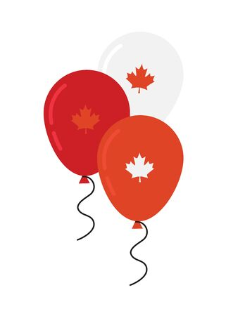 canada day celebration. Canada Independence Day Flying Flat Balloons In National Colors of Canada. Happy Independence Day Vector Illustration. Canadian Flag Balloons.