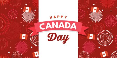Canada day celebration. Canada Independence Day. 1st of July. Happy Canada Day greeting card. Celebration background with fireworks, flags and text. Vector illustration