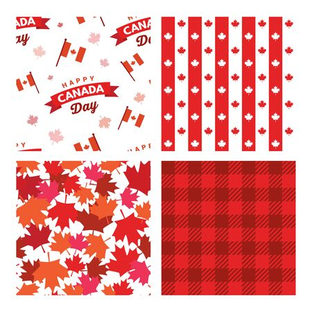 Canada seamless patterns. Canada Independence Day. 1st of July. Happy Canada Day greeting card. Celebration background with fireworks, flags and text. Vector illustration Illusztráció