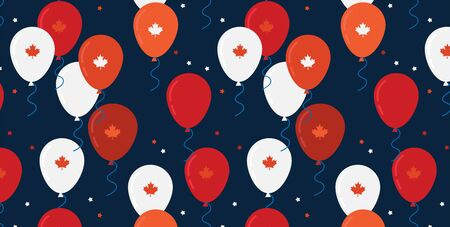 Canada day celebration banner. Canada Independence Day Flying Flat Balloons In National Colors of Canada. Happy Independence Day Vector Illustration. Canadian Flag Balloons.
