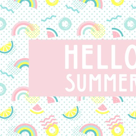 hello summer abstract card. Summer funny wallpaper and background. Fashionable styling. Watermelon, lemonand rainbow vector design.