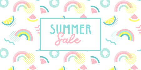 Promo web banner template for summer sale. Summer funny wallpaper in memphis style. Fashionable styling template with watermelon, lemon and rainbow. vector design.