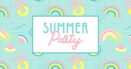 summer party banner. Summer funny wallpaper in memphis style. Fashionable styling template with watermelon, lemon and rainbow. vector design. Illusztráció