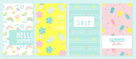 Design banner and card for summer season. Abstract geometric background with summer fruit, tropical leafs and beach scene. summer sale and summer text on modern texture backdrop. Vector illustration