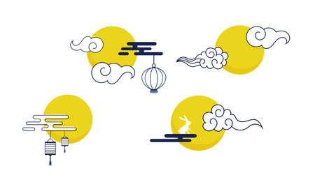 Mid Autumn Festival icons. traditional asian moon and clouds. Asian harvest traditional festival. Chuseok, mid autumn korea festival. Vector illustration Illusztráció