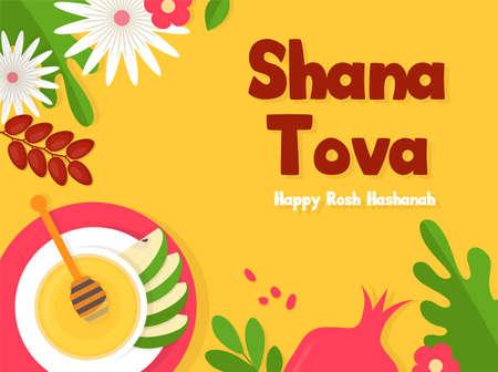 Greeting banner with symbols of Jewish holiday Rosh Hashana, New Year. Shana Tova - Blessing of Happy new year. Vector illustration design