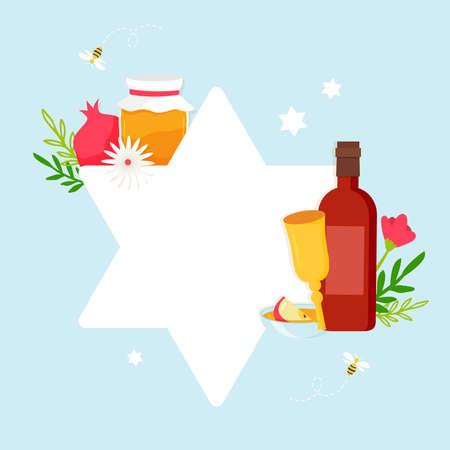 Greeting card with symbols of Jewish holiday Rosh Hashana, New Year. Shana Tova - Blessing of Happy new year. david star with rosh hashana symbols. Vector illustration design Illusztráció