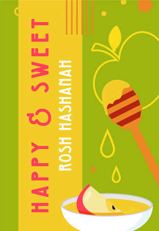 Rosh hashanah jewish new year holiday greeting card design. Greeting cards with symbols of Jewish holiday Rosh Hashana, New Year. Shana Tova - Blessing of Happy new year. Vector illustration design