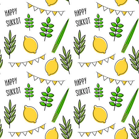 seamless pattern for Jewish holiday Sukkot . seamless background. Repeating texture with etrog, lulav, Arava, Hadas.  illustration Stock fotó