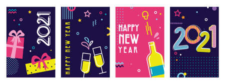 Happy New Year- 2021 . Collection of greeting background designs, New Year, social media promotional content. Vector illustration Vector Illustration