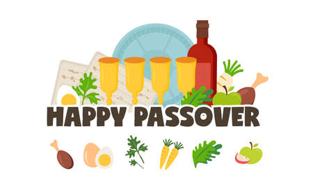 Pesah celebration greeting card, Jewish Passover holiday. Greeting cards with traditional icons, four wine glasses, Matzah and spring flowers. vector illustration