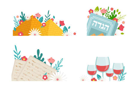 Pesah celebration greeting icons, Jewish Passover holiday. Greeting cards with traditional icons, four wine glasses, Matzah and spring flowers. vector illustration