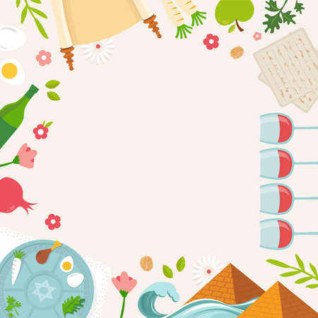 Pesah celebration concept , Jewish Passover holiday. Greeting cards with traditional icons, four wine glasses, Matzah and spring flowers. vector illustration