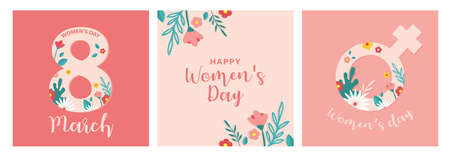 Collection of greeting card or postcard templates with flowers. Happy World Womens Day wish. Modern festive vector illustration for 8 March celebration. Illusztráció