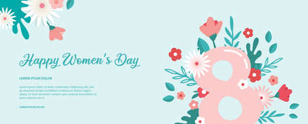 Greeting banner or postcard template for World Womens day. Happy Womens Day card with flowers . Modern floral vector illustration for 8 March celebration. Illusztráció