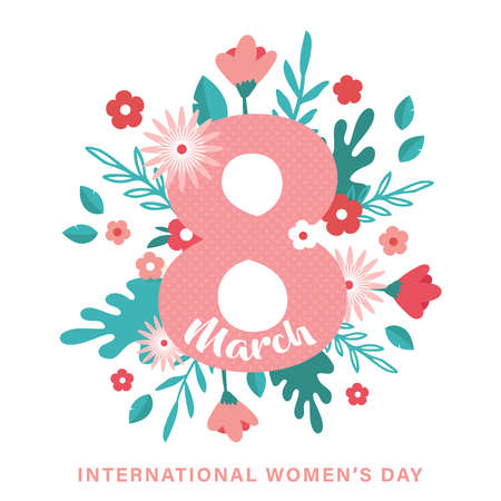 Greeting card or postcard template for World womens day. Happy Womens Day card with flowers . Modern floral vector illustration for 8 March celebration.