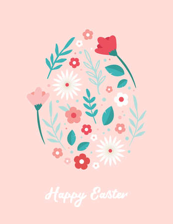 Happy Easter. Greeting cards or posters with spring flowers and Easter egg. Egg hunt poster template. Spring background. vector illustration