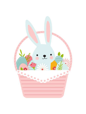 Happy Easter. Greeting card or a posters with easter basket, bunny, spring flowers and Easter egg. Egg hunt poster template. Spring background. vector illustration Illusztráció
