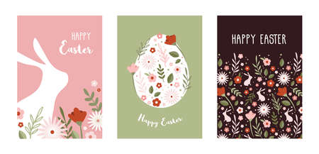 Happy Easter. Greeting cards or posters with bunny, spring flowers and Easter egg. Egg hunt poster template. Spring background. vector illustration