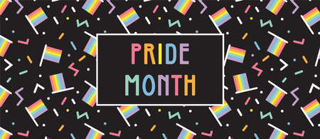 LGBT Pride Month in June posters and web templates. Lesbian Gay Bisexual Transgender. Celebrated annual pride month. LGBT flags, Rainbow and love concept. Human rights and tolerance. Poster, card, banner and background.